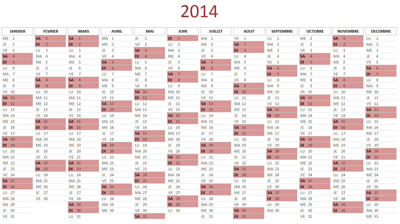 calendrier 2014 gratuit au format excel. Black Bedroom Furniture Sets. Home Design Ideas